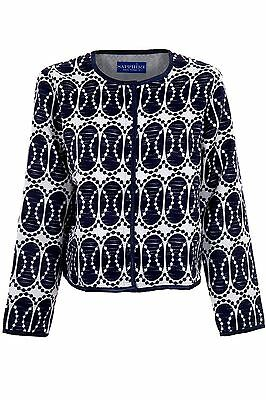 Women's Lined Textured Navy White Ladies Long Sleeve Oval Printed Jacket