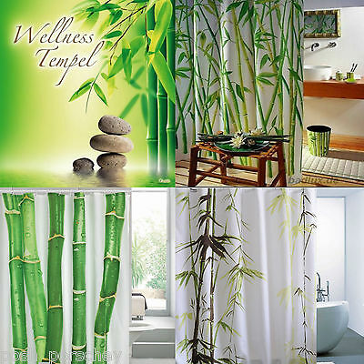 Quality Extra Long Polyester White Green Bamboo Oriental Shower Curtain 180 200