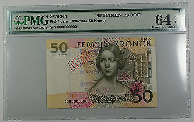 "1996-2003 Sweden 50 Kronor Note Pick #62sp PMG 64 C UNC ""Specimen Proof"" Details"