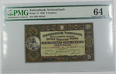 1939 Switerland Nationalbank 5 Franken Note Pick # 11i PMG 64 Choice UNC Stain