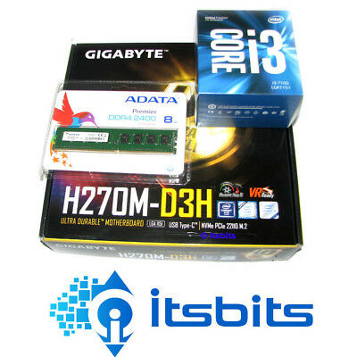 GIGABYTE H270M-D3H MOTHERBOARD + INTEL CORE i3-7100 DUAL 1151 + 8GB DDR4 RAM