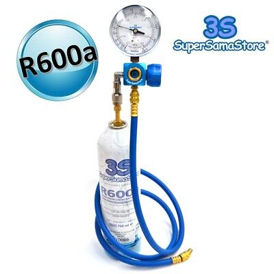 3S KIT RICARICA e DIAGNOSI GAS R600a per FRIGO FREEZER con FRUSTA e MANOMETRO