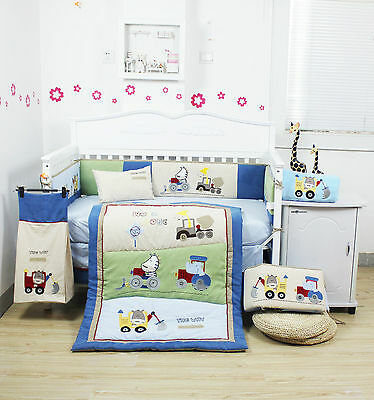 BNIB 10 Pieces Beautiful Animal Vehicle Baby Boy's Crib Cot Bedding Quilt Set