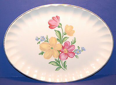 WS W.S. GEORGE POTTERY B8751 PATTERN 11 3/4 INCH OVAL SERVING PLATTER (21-D)