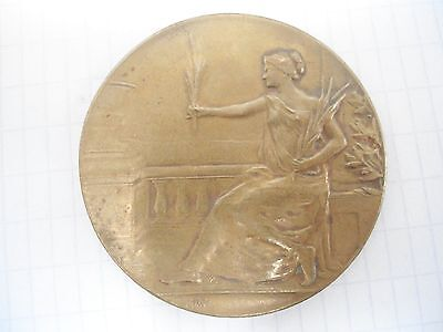 French Bronze Art Nouveau Medal - Red Cross - Girl With Garland / M40