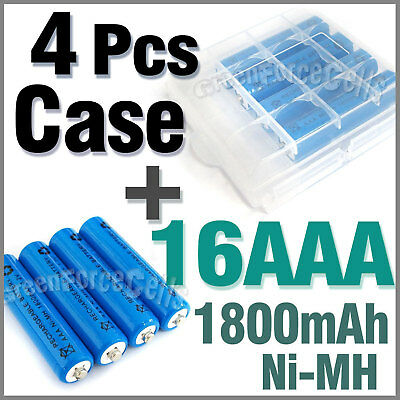 4 Case + 16 AAA Ni-MH 1800mAh rechargeable battery Blue