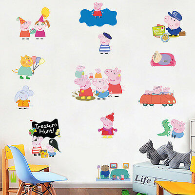 Peppa Pig Removable Wall Stickers Vinyl Decals Baby Kids Nursery Decor Art Mural