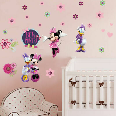 Minnie Mouse Daisy Duck Flower Removable Wall Sticker Girls Nursery Decor Disney