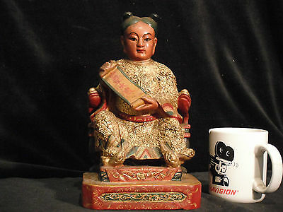 Qing Dynasty Rare Tai Sui Taoist Deity Hard carved Solid Wood Gold Gilt 19th c