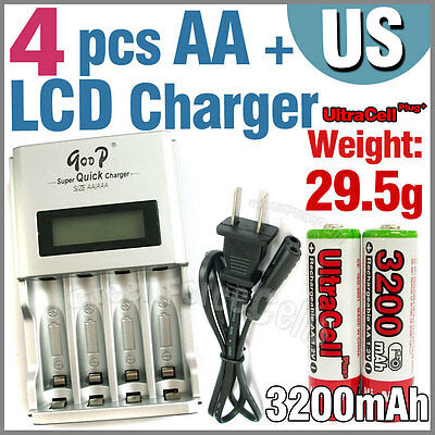 4 x AA 3200mAh Ni-MH Rechargeable battery R + AAA LCD Auto charger US plug