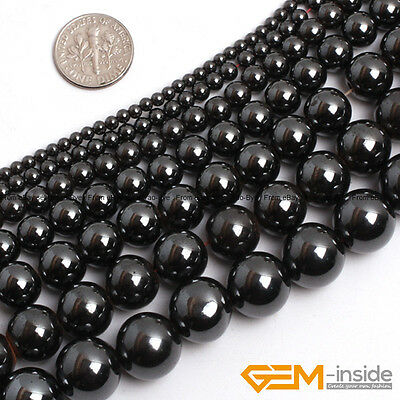 """Natural Black Magnetic Hematite Round Ball Beads For Jewelry Making 15""""2mm-16mm"""