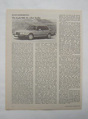 Saab 900 16 Valve Turbo Road Impressions / Test article from 1985