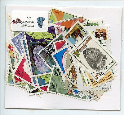 Lot De 50 Timbres Themes Animaux  Differents Faune