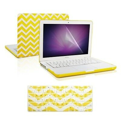 "LCD for Macbook White 13/"" A1342 Keyboard Cover Matte Chevron HOT BLUE Case"