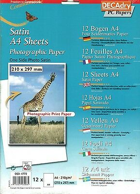 Decadry OCI-4772 Photographic Paper Satin A4 Sheets Print Your Own Photographs
