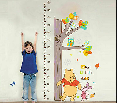 Winnie The Pooh Height Chart Wall Sticker Decal Removable Nursery Decor Kids Art