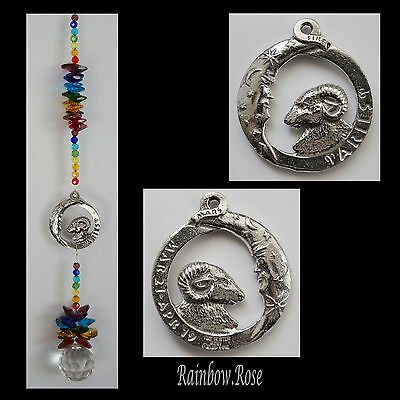 ZODIAC CHAKRA Crystal Suncatcher ARIES Mar 21 - Apr 19 Pewter Star Sign 40mm