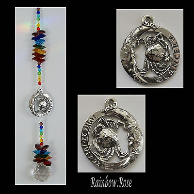 ZODIAC CHAKRA Crystal Suncatcher CANCER Jun 22 - July 22 Pewter Star Sign 40mm