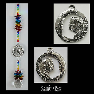 ZODIAC CHAKRA Crystal Suncatcher GEMINI May 21 - Jun 21 Pewter Star Sign 40mm