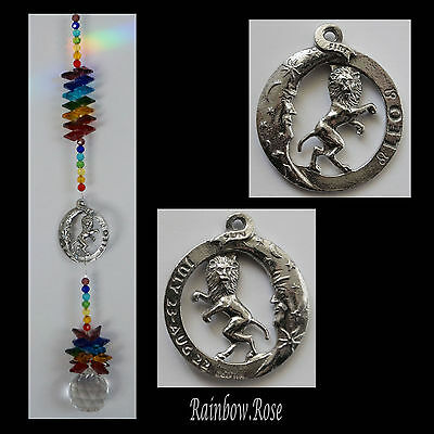 ZODIAC CHAKRA Crystal Suncatcher LEO July 23 - Aug 22 Pewter Star Sign 40mm