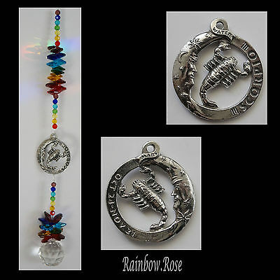 ZODIAC CHAKRA Crystal Suncatcher SCORPIO Oct 24 - Nov 21 Pewter Star Sign 40mm