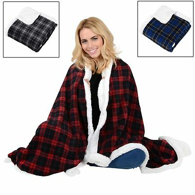 Tartan Check Warm Fleece Blanket Soft Sherpa Luxury Warm Home Sofa Bed Throw
