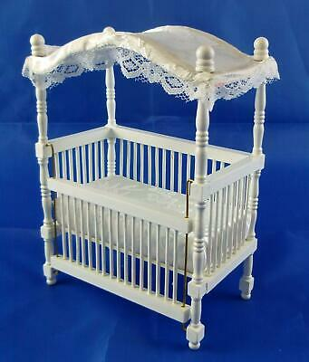 Melody Jane Dolls House Miniature Nursery Baby Furniture White Wooden Canopy Cot