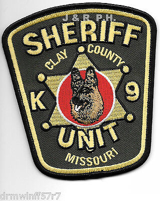 "Clay County Sheriff  K-9 Unit, MO (4"" x 4.5"") shoulder police patch (fire)"