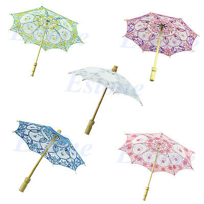 Purple New Bridal Wedding Embroidered Lace Parasol Umbrella Party Decoration