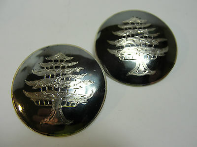 Nielloware Beautiful Pair of Vintage SIAM Sterling Silver Pins - Tree Design