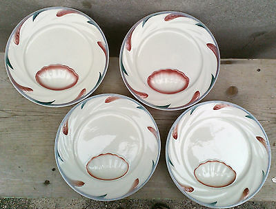 Lot de 4 assiettes à asperges porcelaine, Digoin, Sarrguemine, old french plates