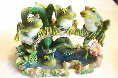 """4 FROGS AT THE POND, 3 ON A LOG AND ONE SWIMMING 7 1/2"""" BY 5"""""""