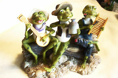 """UKELELE, JUG AND WASHBOARD BAND FROGS ON LOG LG. 8 1/4"""" LONG AS IS"""