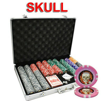 650Pc 13.5G Skull Casino Poker Chips Set With Aluminum Case
