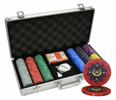 300pcs LAUREL CROWN CERAMIC POKER CHIPS SET ALUMINUM CASE CUSTOM BUILD