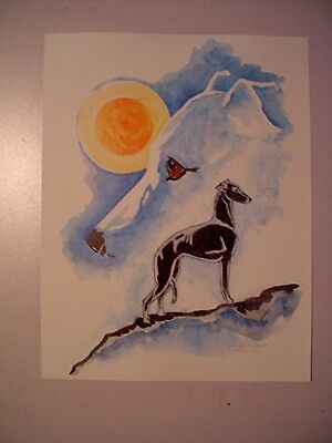Print of Stylized watercolor by Cindy A. Conter Whippet Greyhound CAC #1