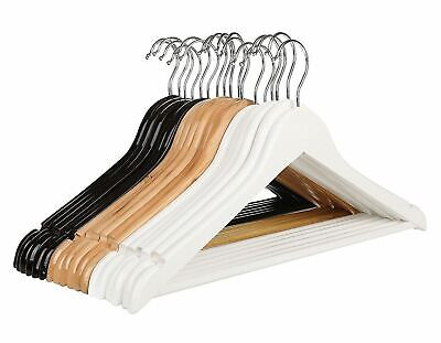 Vinsani Wooden Hanging Coat Garment Jacket Clothes Trousers Hangers With Bar