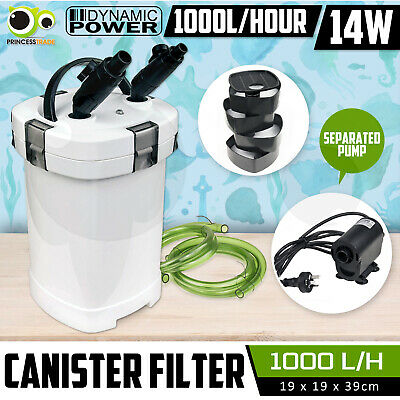 Aquarium External Canister Filter Aqua Fish Water Tank Sponge Pond 1000L/H