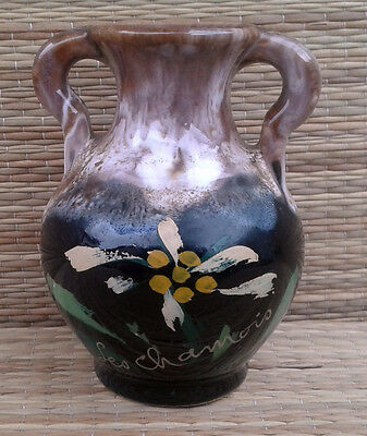 "Ancien petit vase en terre style vallauris, ""le Chamois"",art pop, french pottery"