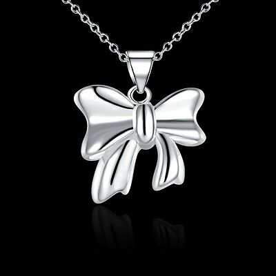 New Women Girls 925 Sterling Silver Filled Cute Bowknot Pendant Necklace Gift
