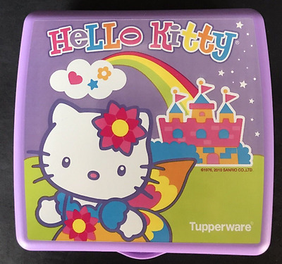 Tupperware Hello Kitty Sandwich Keeper Hinged Crayons Crafts Rainbow Purple New