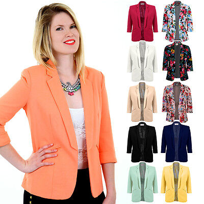Ladies 3/4 Turned Up Sleeve Open Front Floral Print Women's Smart Jacket Blazer