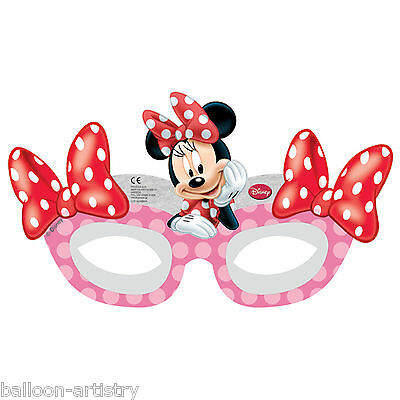 6 Disney Minnie Mouse Polka Dot Cafe Birthday Party Paper Card Glasses Masks