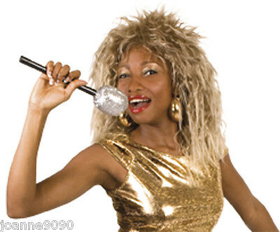 New Punk Rock Queen Diva Tina Turner 80s Blonde Crimped Fancy Dress Costume Wig
