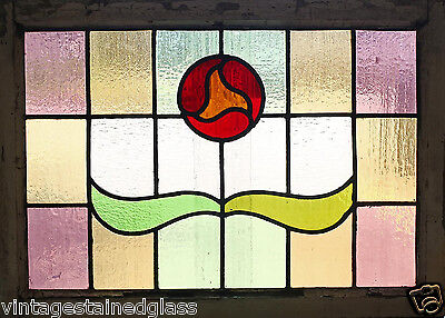 Antique Stained Glass Window Eight Color Arts n Crafts Tulip              (2752)
