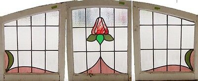 set of Three (3) Antique Stained Glass Windows Variegated Arts n Crafts   (1988)
