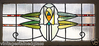 Large Antique Stained Glass Window Ten Color Arts n Crafts Rose           (2754)