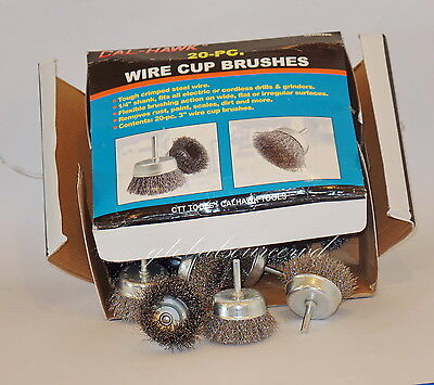 "20pc 3""   CALHAWK WIRE CUP BRUSH SET  STEEL WIRE WHEEL BRUSHES FOR DRILLS"