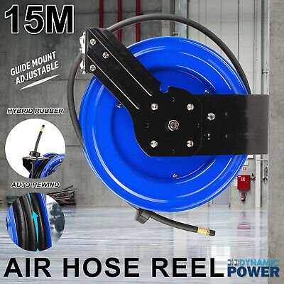 15m Retractable Auto Rewind Air Hose Reel Industrial Grade Tool Bracket Mount