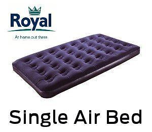 New INFLATABLE SINGLE FLOCKED AIR BED CAMPING MATTRESS LUXURY AIRBED by ROYAL